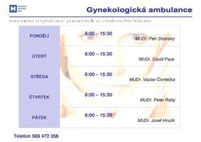 ordinační doba gynekologické ambulance