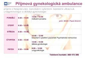 ordinační doba příjmové gynekologické ambulance